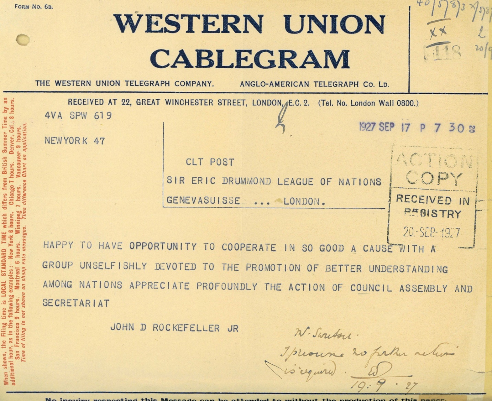 Telegram to Sir Eric Drummond from John D Rockefeller JR