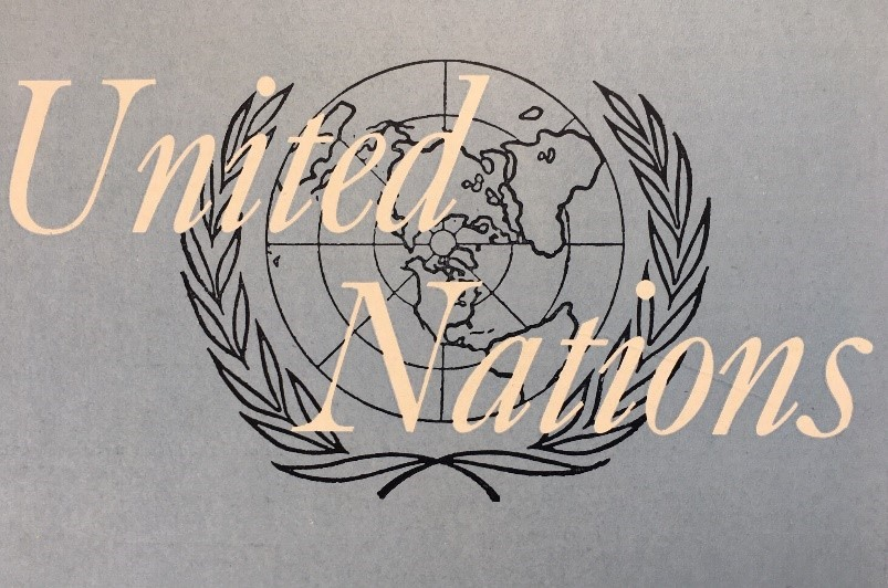 First symbol of the UN used at the San Francisco Conference in 1945 (until December 1946).