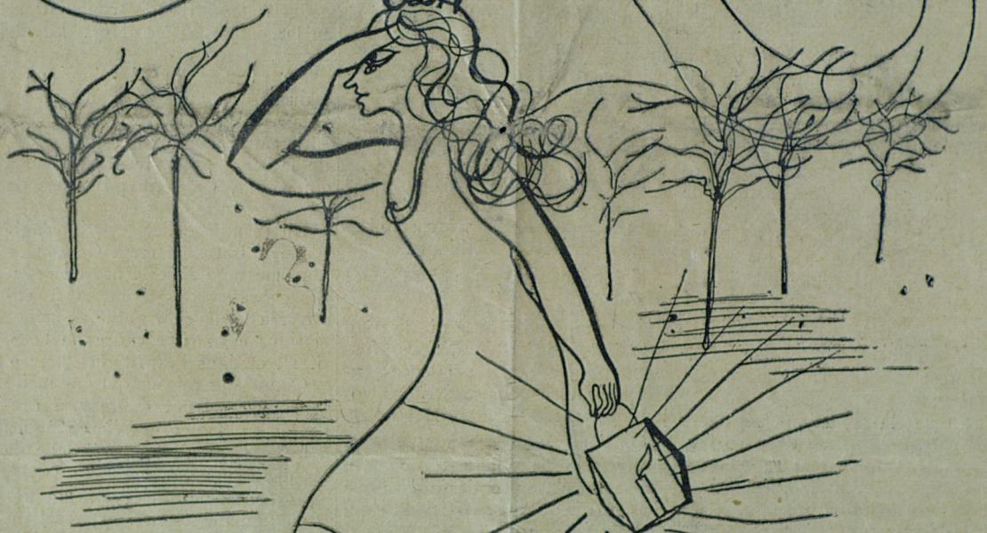 Cynical caricature depicting the League of Nations, in her search for peace