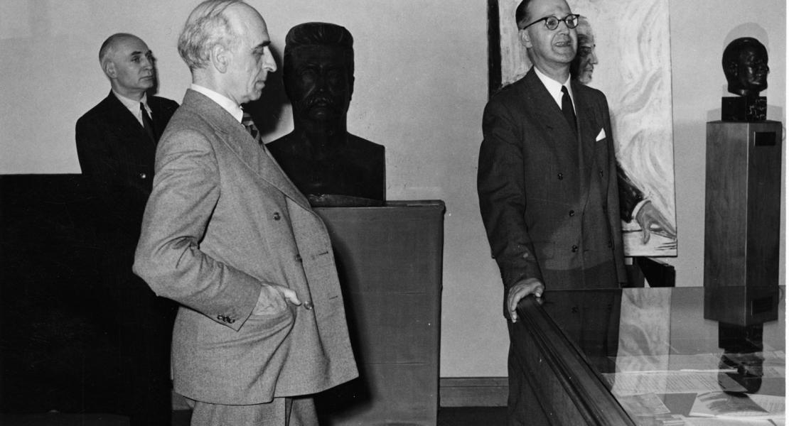 Sean Lester, last Secretary General of the League of Nations, attending the inauguration of the United Nations Museum, 1947
